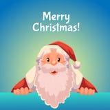 Greeting card with cartoon Santa Claus holding a sign Stock Photos