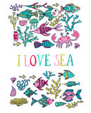 Greeting card. Cartoon set with sea live, vector set. Colorful s Stock Photos