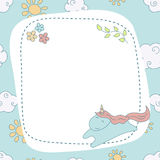 Greeting card with cartoon unicorn. Stock Images