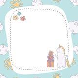 Greeting card with cartoon unicorn. Stock Image