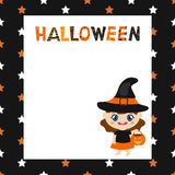 Greeting card with cartoon witch. Halloween theme Royalty Free Stock Photos