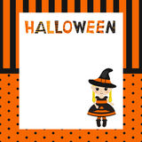 Greeting card with cartoon witch. Halloween theme Stock Photo