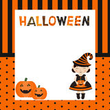 Greeting card with cartoon witch. Halloween theme Royalty Free Stock Image