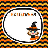 Greeting card with cartoon witch. Halloween theme Royalty Free Stock Photo