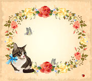 Greeting card with cat Stock Image