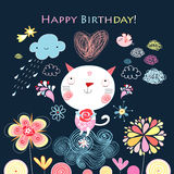 Greeting card with a cat Stock Images