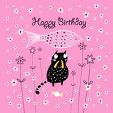 Greeting card with a cat Stock Photo