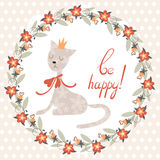 Greeting card with cat. Stock Images
