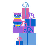 Greeting card with a cat and gifts Stock Images