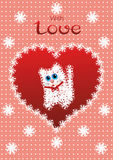 Greeting card with cat, heart and lettering Stock Photo