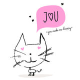 Greeting card with a cat in love Stock Photo