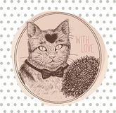 Greeting card with cat. Vector illustration. Stock Photo