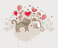 greeting card with cats in love Stock Image