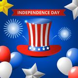 Happy usa independence day, 4th of july. Design for greeting and sale promotion banner template illustration with text. Greeting card celebration of Royalty Free Stock Image