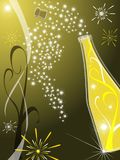 Greeting card with champagne. Vector greeting card 2009 with gold background and champagne Stock Photo