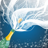 Greeting card with champagne explosion Royalty Free Stock Images