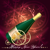 Greeting Card with Champagne. Illustration with bottle of champagne on gun carrier ready to celebrating shoot in five minutes against snowflakes background vector illustration