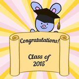Greeting card with a character hare and congratulations graduate Royalty Free Stock Photography