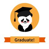 Greeting card with a character panda and congratulations graduate Stock Photography