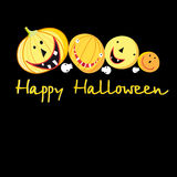 Greeting card with a cheerful pumpkins for Halloween Royalty Free Stock Photos