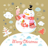 Greeting card with a cheerful snowman. Bright new year card with snowmen and birds in the background with clouds and Christmas trees Royalty Free Stock Photography