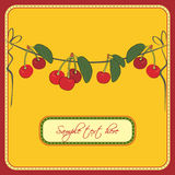 Greeting card with cherries. Greeting card with fresh cherries Vector Illustration