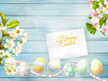 Greeting card and cherries blossom. EPS 10 Stock Photos