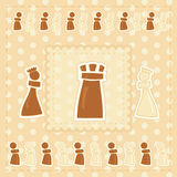 Greeting card with chess figures Royalty Free Stock Photos