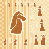 Greeting card with chess figures Royalty Free Stock Image