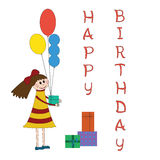 Greeting card for children birthday party Royalty Free Stock Images