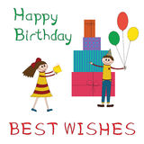 Greeting card for children birthday party Royalty Free Stock Image