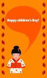 Greeting card with children`s day with a picture of a girl in a kimono-a traditional costume Stock Image