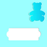 Greeting card for a children`s holiday or Birthday. Teddy Bear cut out from paper and space for text Royalty Free Stock Photography