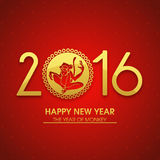 Greeting card for Chinese New Year 2016. Elegant greeting card design with stylish text 2016 and illustration of Monkey on shiny red background for Chinese New Royalty Free Stock Photos
