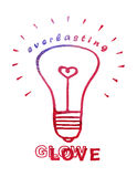 Greeting card 2016 Happy Valentines day.. Greeting card with red watercolor light bulb and handwritten text Everlasting Glow/Love on white background. Happy Royalty Free Stock Images