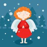 Greeting card, Christmas card with Christmas angel. Greeting card, Christmas card with cartoon Christmas angel Stock Photo