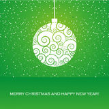 Greeting card with christmas ball Stock Images