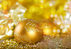 Greeting card with Christmas ball Stock Photos