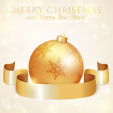 Greeting card with Christmas ball and ribbon. Vector illustratio Royalty Free Stock Image