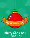 Greeting card with christmas ball. Vector illustration. Royalty Free Stock Photo