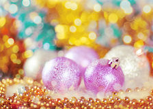 Greeting card with Christmas balls Stock Photography