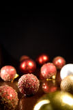 Greeting card with Christmas balls Royalty Free Stock Photography