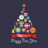Greeting Card with Christmas balls. Christmas tree. Royalty Free Stock Photo