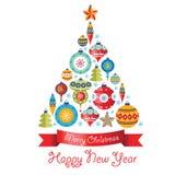 Greeting Card with Christmas balls. Christmas tree. Stock Images