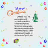 Greeting card Christmas. Christmas card with balls, place for text stock illustration