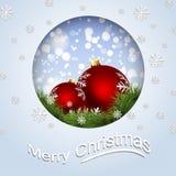 Greeting card with Christmas Balls Stock Photography