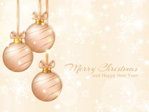 Greeting card with christmas balls. Vector illustration. Stock Photos