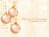 Greeting card with christmas balls. Vector illustration. Stock Photography