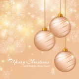 Greeting card with christmas balls. Vector illustration. Royalty Free Stock Photo