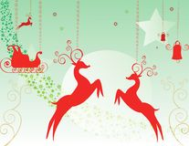 Greeting card, Christmas card, deer, and bell Royalty Free Stock Image
